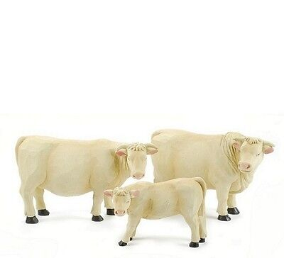 NWT Lot of 3 White Cows Calf Blossom Bucket Resin Primitive Rustic Country