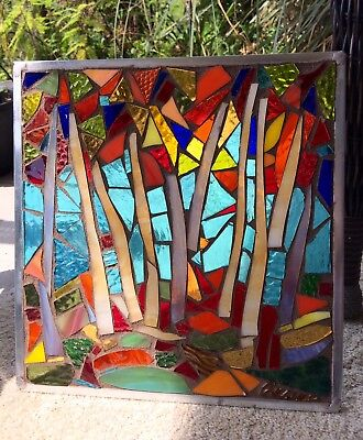 Stained Glass Autumn Trees Mosaic Window Suncatcher Panel Transom OOAK