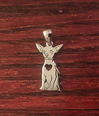 Chihuahua Sterling Silver Charm - New - FREE SHIPPING