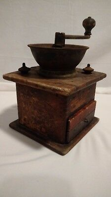 Antique Wood & Cast Iron Coffee Grinder with Drawer , Very Used, Decoration Only