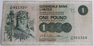 REDUCED One Pound £1 Banknote Clydesdale Limited Scotland 1974-1981 #303008