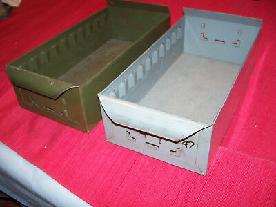 """2 VINTAGE ARMY GREEN SINGLE METAL FILE CARD DRAWER 11"""" X6X 3 INDUSTRIAL insert"""