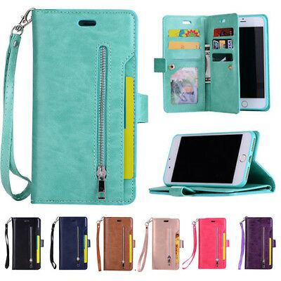 Magnetic Flip PU Leather Wallet Slot Stand Zipper Case Cover For Various Phone