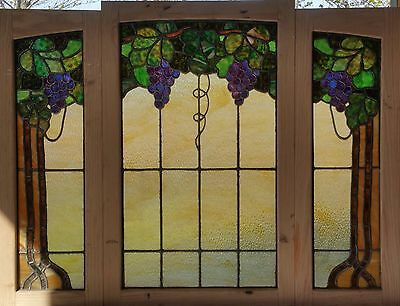 3 pc. Antique American Stained Glass Floral Set with Grapes, Foliage and Vines
