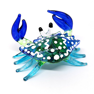 HAND BLOWN GLASS Blue Crab FIGURINE Handcrafted MINIATURE Ornaments Collection