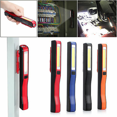 USB Rechargeable COB LED Torch Magnetic Pocket Clip Work Light Inspection Lamp