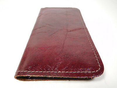 Bay State Exclusive Shiny Burgundy Leather Standard Checkbook Cover-Made in USA.