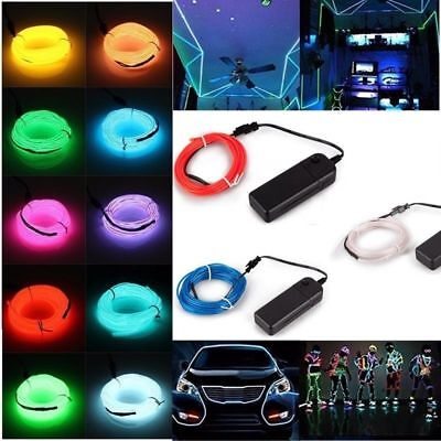 5M Battery Operated Luminescent Neon LED Lights Glow EL Wire Party Strip Rope AU
