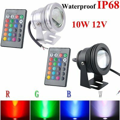 10W RGB LED Light Fountain Pool Pond Spotlight Underwater Waterproof Lamp 12V US