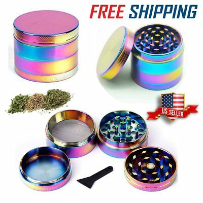 Rainbow Stainless Steel Spice Herb Grinder Cylinder 4Piece Tobacco Mill Colorful