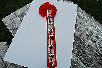 Red Ribbon for door Christmas decoration - 5 bells - NICE!!