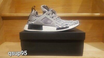 Hombres Adidas NMD XR1 primeknit Core Negro / gris by1910 blanco solido
