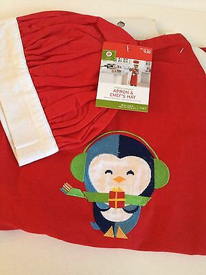 Christmas Holiday CHILDREN PENGUIN APRON & CHEF'S HAT RED One Size Fits Most