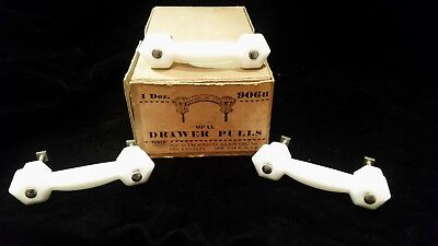 Antique Milk Glass Cabinet Drawer Pull - Glass NOS - 3 Total!