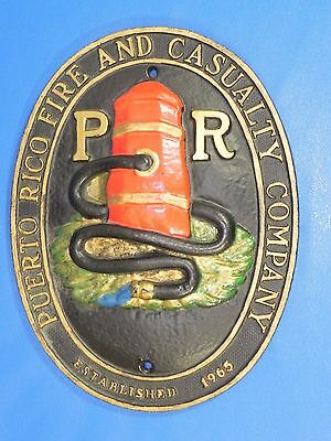 "Vintage 1965 Puerto Rico Fire Department Casualty Plaque Badge 12"" Cast Iron"