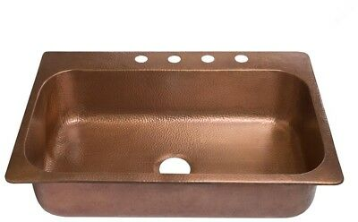 Drop In Kitchen Sink 33 in. 4 Hole Single Rectangle Bowl Hammered Antique Copper