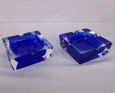 2 Matching J.G. Durand Cobalt Blue Double Cased Crystal Glass Ashtray
