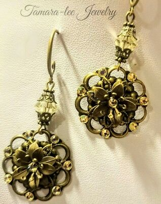 Artisan Earrings Made With Jonquil Swarovski Crystals Edwardian Antique Style