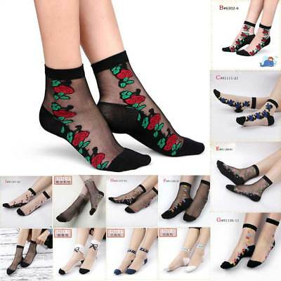 Comfy Crystal Sheer Transparent Thin Black Floral Lace Ruffle Ankle Socks Lady H