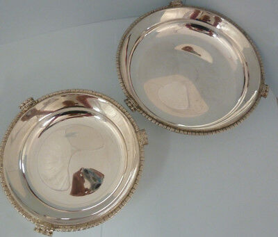 CHRISTOPHER LAWRENCE Pair of Solid SILVER Dishes. Cast CROWN Border. 1988. 443g