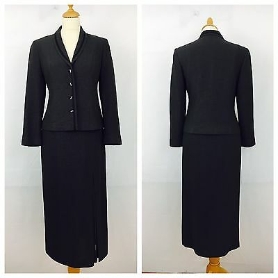 Minuet Ladies Jacket Skirt Suit Size 8 Grey Wool Blend Fully Lined (16D)