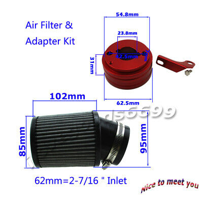 Air Filter &Adapter Kit For 6.5HP Honda Clone GX160 GX200 Predator 212cc Go Kart