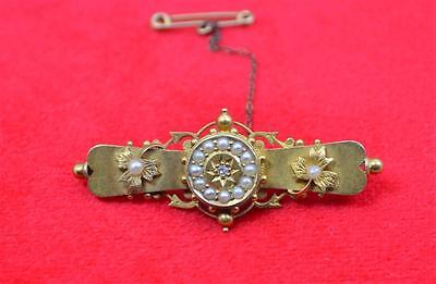 15 ct gold Seed Pearl diamond  mounted brooch safety chain hallmarked FB .4.4 gr