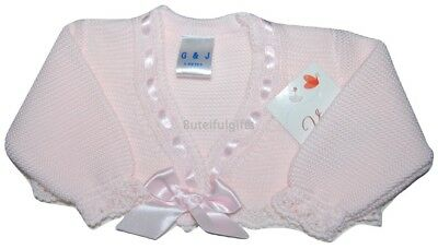 Baby Girls Spanish Romany Slotted Ribbon Bow Bolero Cardigan