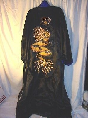 Vintage Reversible Satin  Men's Dragon Robe  Dressing Robe ~ Size XL Gorgeous