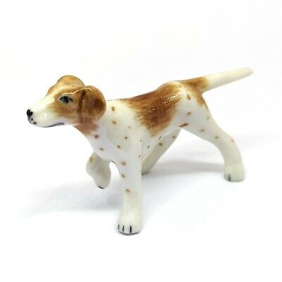 Cute Miniatures Collectible Porcelain Ceramic Pointer Dog Breed FIGURINE Animal