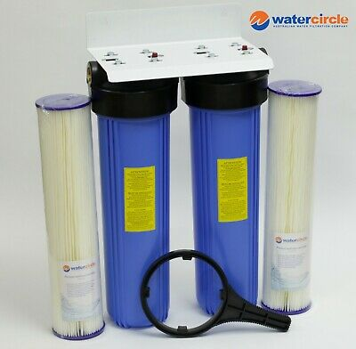 "PREMIUM HIGH QUALITY TWIN Big blue 20"" x 4.5"" whole tank water filter PLT x 2"