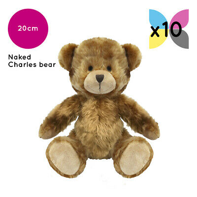 10 Brown Charles Teddy Bears Without Clothing Blank Plain Soft Toy Plush Bulk