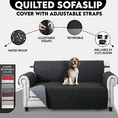 Reversible Quilted Waterproof Sofa Slip Cover, Furniture Pet Protector Throw
