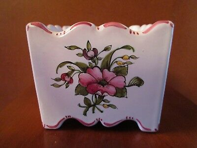 Vintage Hand Painted Floral Lallier A Moustiers French Faience Flower Frog Vase
