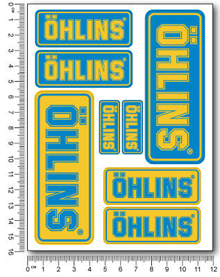 Ohlins fork shock Laminated stickers decals graphics aprilia ducati kawasaki