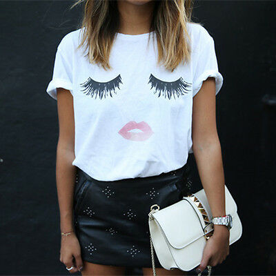 Moda Donna Estate T-shirt allentata Lashes Lips Printed White T-Shirts Tops Tees