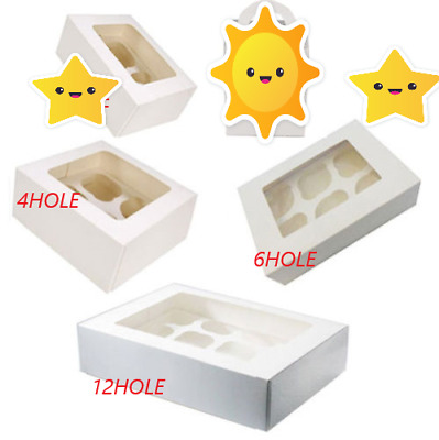 White Cupcake Boxes for 4 and 6 Hold Cup Cakes With Removable Trays