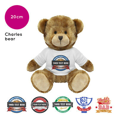 Personalised Name Fathers Day Charles Teddy Bear Presents Gifts for Dad Grandad