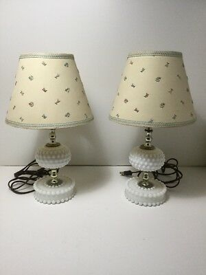 Vintage Pair of Hobnail Base Table Nightstand Lamps Lights with Matching Shades