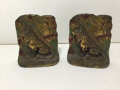 Vintage Antique Pair of Brass Lion Bookends Book Ends