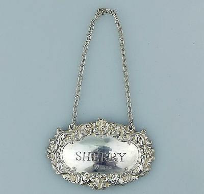 Vintage Solid Silver : Sherry Decanter Label - full English Assay marks C.1968