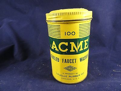 Vintage ACME Tin Canister Lavelle Rubber Co Chicago Faucet Washers Lucky Strike