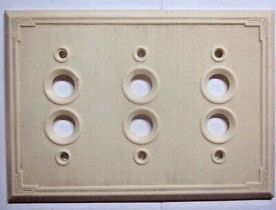 Antique beige bakelite thin lines 3 gang push switch wall cover plate early 1900