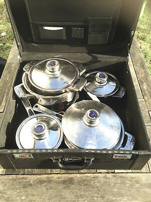 BACHMAYER SOLINGEN 16 Piece Stainless Steel Saucepan Set Plus Storage Case  Used