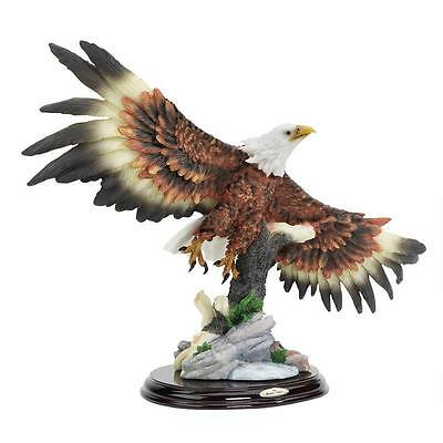 """Design Toscano Hand Painted 16"""" Wide Wingspan Bald Eagle Statue Solid Wood Base"""
