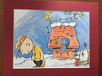 CHARLIE BROWN~PEANUTS~1ST PLACE DOG HOUSE~8 x 10 Mat Print~TREE TROUBLES~NEW
