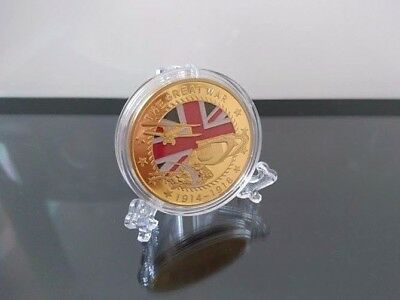 Great War Gold Coin x1 Souvenir Commemorative Gift Complete With Display Stand