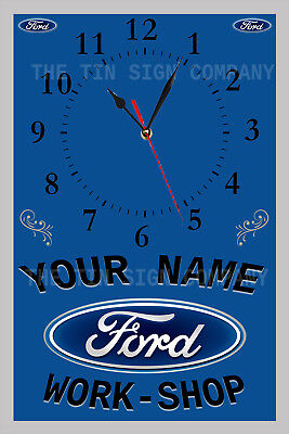 Ford Work-Shop  Personalised Wall Clock. Great Gift For Mechanic Or Ford Guy