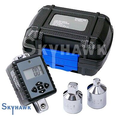 "1/2"" Dr. Digital Torque Wrench Adaptor Micro Meter Unit w/ 3/8"" & 1/4"" Reducers"
