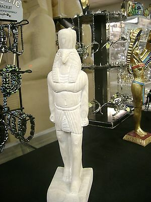 Vintage Egyptian God Horus Statue Hand Carved Natural Stone  1976 Made in Egypt